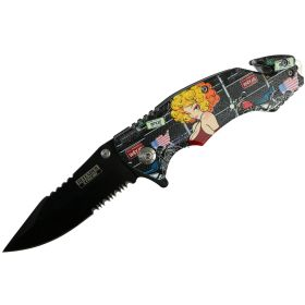 """Defender-Xtreme 8"""" Motorcycle Lady Spring Assisted Folding Knife Belt Cutter New"""
