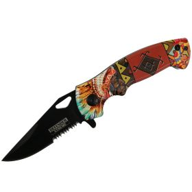 "Defender-Xtreme 7.5"" Native American Spring Assisted Folding Knife Tactical Sharp"