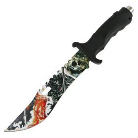 "Defender 13"" Tactical Hunting Knife Rubber Handle Reaper Art Blade Outdoor Camping"