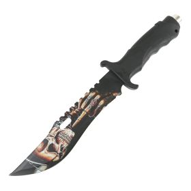 """Defender 13"""" Hunting Knife Rubber Handle Skull Finge Blade Outdoor Camping Sharp"""