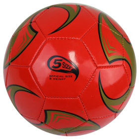 Perrini Soccer Ball Size Red & Gold Trim Outdoor Sports Match Practice Official 5