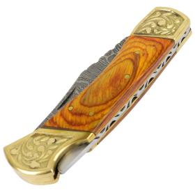 "TheBoneEdge 9"" Hand Made Damascus Blade Folding Knife Pakkawood Handle Yellow"