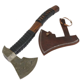 "TheBoneEdge 20"" Custom Handmade Damascus Steel Throwing Axe Hatchet Wood Handle"