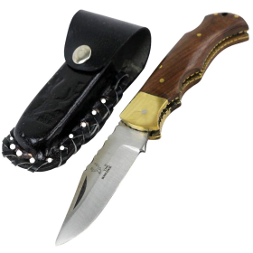 "TheBoneEdge 6.5"" Stainless Steel Blade Folding Knife Wood Handle With Leather Pouch"