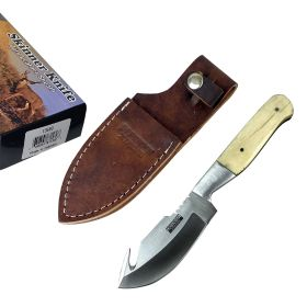 "Defender-Xtreme 7.5"" Bone Handle Stainless Steel Hook Blade Hunting Knife With Leather Sheath"