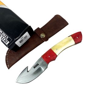 "Defender-Xtreme 8"" Red Wood Handle Stainless Steel Hook Blade Hunting Knife With Leather Sheath"