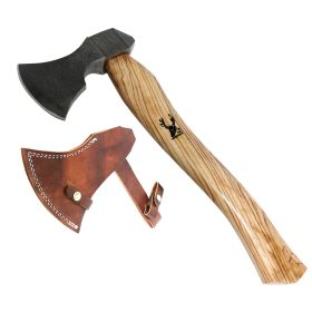 "TheBoneEdge 14.5"" Hunting Axe Light Brown Wood Handle Stainless Steel With Sheath"