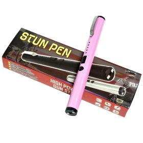 "6"" OFFICE PEN STYLE POWER STUN GUN PINK COLOR 100KV"