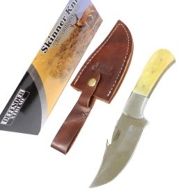 "Defender-Xtreme 7.5"" Skinner Knife Stainless Steel Fish Hook Blade White Handle"