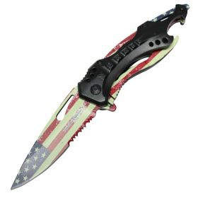 "8"" Premium Collection Spring Assisted Folding Knife American Flag Print"