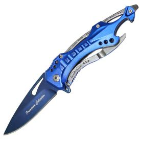 "All Blue Color 8"" Premium Collection Spring Assisted Folding Knife Blue Blade"