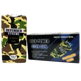 Defender-Xtreme 10 M Green Camouflage Stun Gun Built-In Flash Light Self Defence