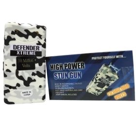 Defender-Xtreme 10 M White Camouflage Stun Gun Built-In Flash Light Self Defence