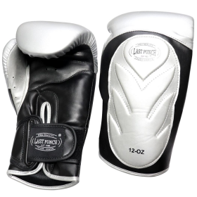 Last Punch Pro Style Training Sparring Boxing Gloves - Silver & Black Adult 12 Oz