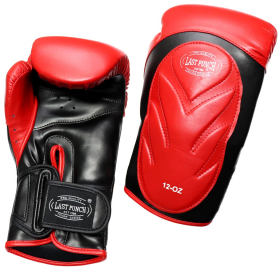 Last Punch Pro Style Training Sparring Boxing Gloves - Red & Black Adult 12 Oz