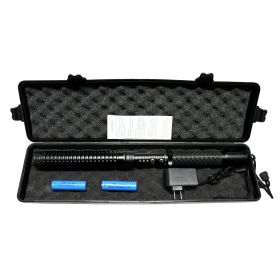 "16"" Black Tactical  Stun Gun With LED Flash Light Case Rechargeable Safety Switch"