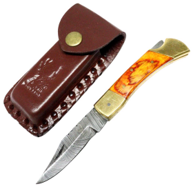 "TheBoneEdge 7"" Hunting Folding Knife Damascus Steel Golden Wood Handle Hand Made New"