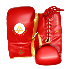 Last Punch Pro Style Red & Gold Adult 12 Oz Training Sparring Boxing Gloves
