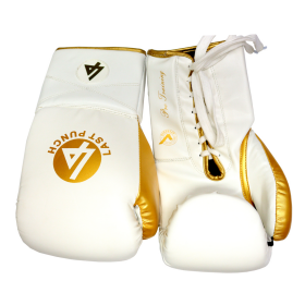 Last Punch Pro Style White & Gold Adult 12 Oz Training Sparring Boxing Gloves