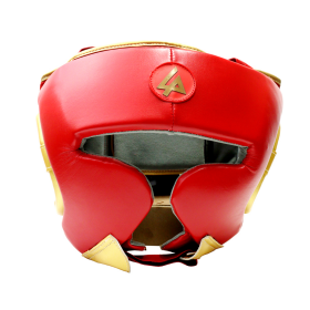 Last Punch Red & Gold Heavy Duty Cheek Protection Training Boxing Headgear