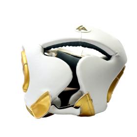 Last Punch White & Gold Heavy Duty Cheek Protection Training Boxing Headgear