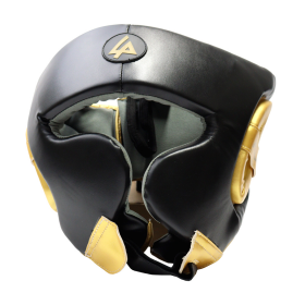Last Punch Black & Gold Heavy Duty Cheek Protection Training Boxing Headgear