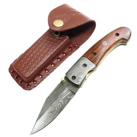 "TheBoneEdge 8.5"" Damascus Blade Folding Knife Wood Handle With Damascus Bolster"