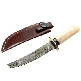 "TheBoneEdge 6"" Damascus Fixed Blade White Resin Handle Hunting Knife With Sheath"