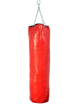 High Quality Heavy Duty Red Vinyl Leather Punching Bag With Chains - Empty