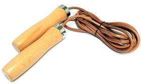 Wood Handle Leather Jump Rope