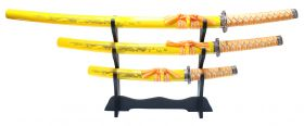 3 Pc Yellow Dragon Design Samurai Katana Swords Set with Stand