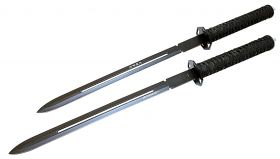 "24"" 2pc Sharp Ninja Black Sword with Sheath"