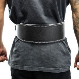 """Last Punch 4"""" Leather Black New Weight Lifting Body Building Belt Gym Fitness"""