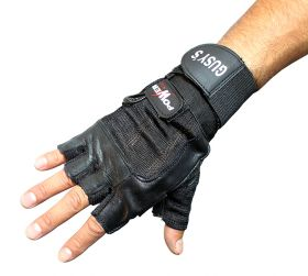 Gusy's Black Leather Working Out/Weight Lifting Fingerless Gloves S-XXL