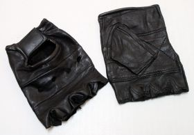 Fingerless Leather Gloves with Wrist Strap