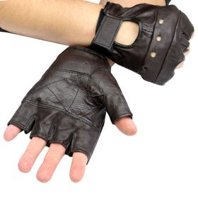 Brown Leather Finger Less Gloves