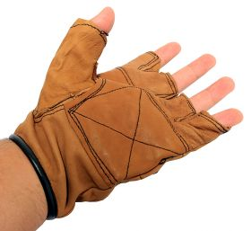 Light Brown Leather Finger Less Gloves