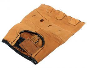 Light Brown Leather Finger Less Gloves