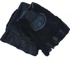 Black Meshback Leather Gloves