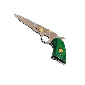 "8"" Wholesale Green Handle Folding Gun Knife with Pouch"