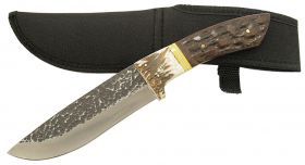 "11"" Full tang Hunting knife stag handle with sheath"