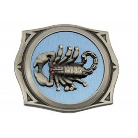 Scorpion image belt buckle includes lighter storage/holder