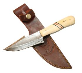 "9"" Damascuss Skinner Knife Bone Handle Series Leather Sheath"