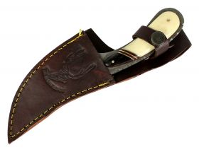 "8.5"" Damascus Skinner Knife Bone Handle Series Leather Sheath"