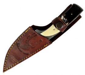 "8.5"" Hunting Knife Damascus Skinner Bone Handle Series Leather Sheath"