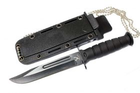 "Black 6"" Mini Survival Knife with Chain Holder & Sheath"