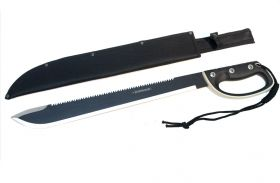 "25"" Black Machete Sword Hard Plastic Handle with Black Sheath"