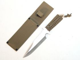 "11.5"" Full Tang Green Handle Hunting Knife with Green Sheath"