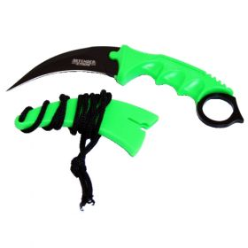"7.5"" Zombie Green Karambit Hunting Knife with Sheath"