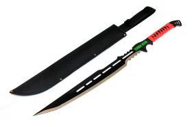 "28"" Full Tang Zombie Killer Hunting Sword With Red Handle & Sheath"